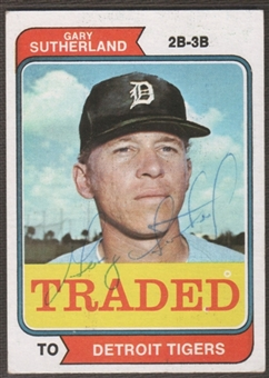 1974 Topps Baseball #428T Gary Sutherland Signed in Person Auto