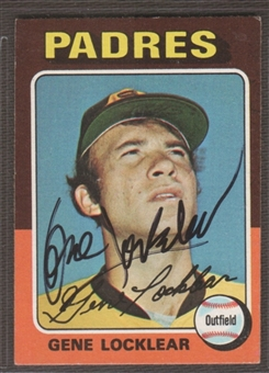 1975 Topps Baseball #13 Gene Locklear Signed in Person Auto