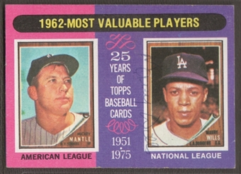 1975 Topps Baseball #200 Maury Wills Signed in Person Auto