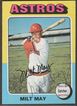 1975 Topps Baseball #279 Milt May Signed in Person Auto