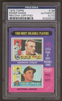 1975 Topps Roger Maris #198 Autographed Card PSA Slabbed (5073)