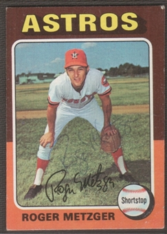 1975 Topps Baseball #541 Roger Metzger Signed in Person Auto