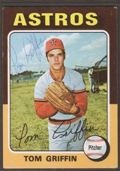 1975 Topps Baseball #188 Tom Griffin Signed in Person Auto