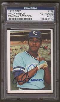 1975 SSPC Vada Pinson #178 Autographed Card PSA Slabbed (5114)