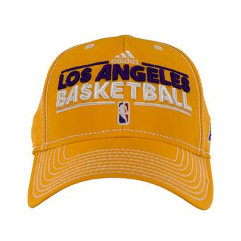 Los Angeles Lakers Adidas Gold Official Practice Fitted Hat (Adult L/XL)