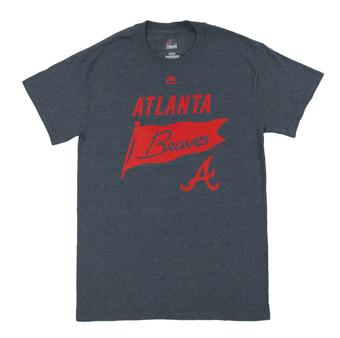 Atlanta Braves Majestic Heather Navy Again Next Year Tee Shirt