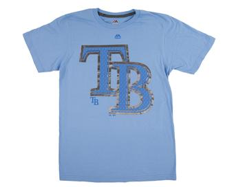 Tampa Bay Rays Majestic Coastal Blue Push Through Tee Shirt (Adult XX-Large)