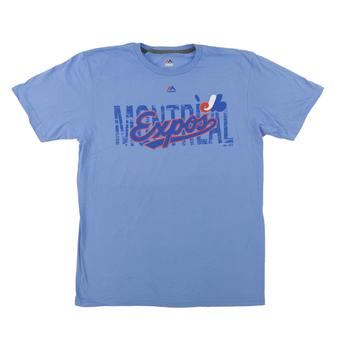 Montreal Expos Majestic Light Blue Last Rally Tee Shirt (Adult Large)