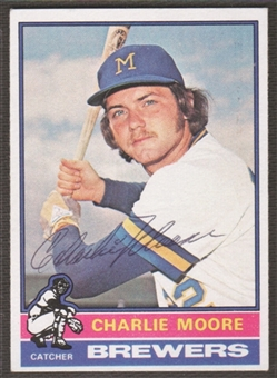 1976 Topps Baseball #116 Charlie Moore Signed in Person Auto