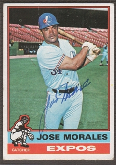 1976 Topps Baseball #418 Jose Morales Signed in Person Auto