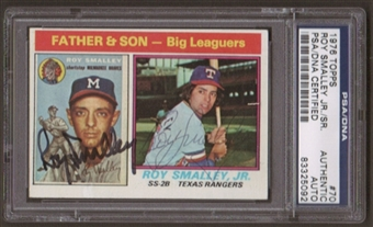 1976 Topps Roy Smalley Jr - Sr Dual Autographed Card PSA Slabbed (5092)