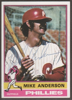 1976 Topps Baseball #527 Mike Anderson Signed in Person Auto