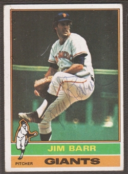 1976 Topps Baseball #308 Jim Barr Signed in Person Auto