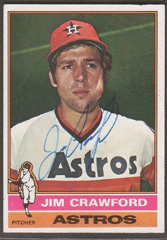 1976 Topps Baseball #428 Jim Crawford Signed in Person Auto