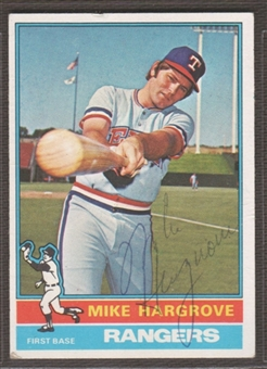 1976 Topps Baseball #485 Mike Hargrove Signed in Person Auto