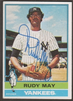 1976 Topps Baseball #481 Rudy May Signed in Person Auto