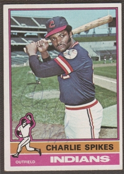 1976 Topps Baseball #408 Charles Spikes Signed in Person Auto (B)