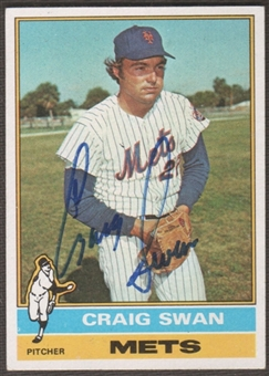 1976 Topps Baseball #494 Craig Swan Signed in Person Auto