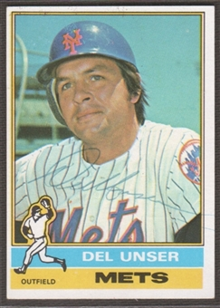 1976 Topps Baseball #268 Del Unser Signed in Person Auto (B)