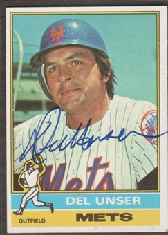 1976 Topps Baseball #268 Del Unser Signed in Person Auto (C)