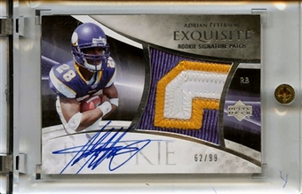 2007 Upper Deck Exquisite Collection #133 Adrian Peterson RC 3 Color Jersey Patch Auto 62/99