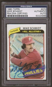 1980 Topps Mike Schmidt #270 Autographed Card PSA Slabbed (4968)