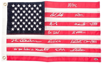 "1980 Team USA ""Miracle On Ice"" Autographed American Flag (Leaf) 15 signatures"
