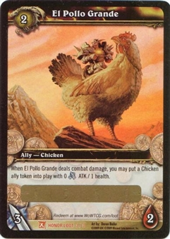 WoW Fields of Honor Single El Pollo Grande Unscratched Loot Card