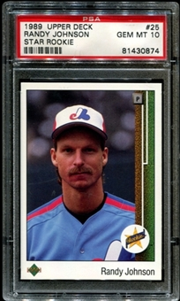 1989 Upper Deck Baseball #25 Randy Johnson Rookie PSA 10 (GEM MT) *0874