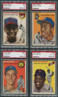 1954 Topps Baseball Complete Set (VG-EX) With 15 PSA Graded Cards