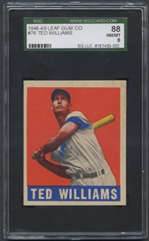 1948 Leaf Baseball #76 Ted Williams SGC 88 (NM/MT 8) *0002