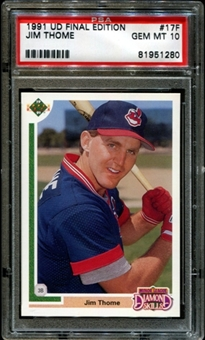 1991 Upper Deck Baseball #17F Jim Thome Rookie PSA 10 (GEM MT) *1280