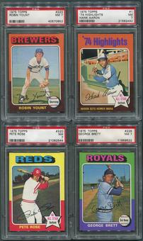 1975 Topps Baseball Complete Set (NM) With 8 PSA Graded Cards