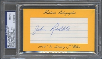 2010 Historic Autograph Baseball Johnny Riddle Cut Auto #1/1