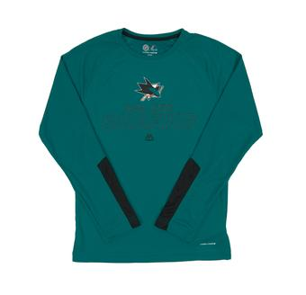 San Jose Sharks Majestic Cutting Through Teal Cool Base L/S Tee Shirt (Adult X-Large)