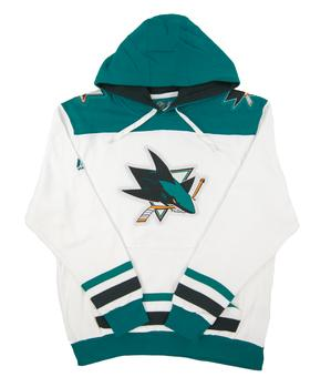 San Jose Sharks Majestic White Vintage Double Minor Fleece Hoodie (Adult Medium)