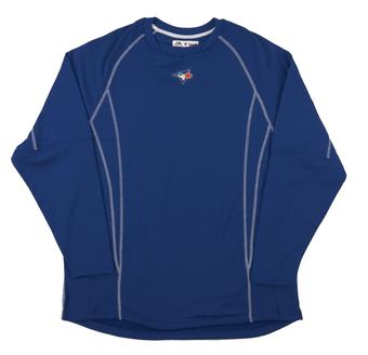 Toronto Blue Jays Majestic Royal Performance On Field Practice Fleece Pullover (Adult Large)