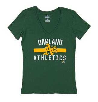 Oakland Athletics Majestic Green One Game At A Time Tee Shirt (Womens X-Large)