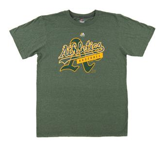 Oakland Athletics Majestic Heather Green First Dual Blend Tee Shirt (Adult Small)