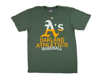 Oakland Athletics Majestic Heather Green Back On Top Tee Shirt (Adult Medium)