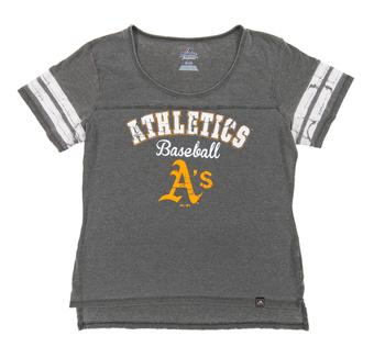 Oakland Athletics Majestic Gray Loving The Game Tee Shirt (Womens Medium)