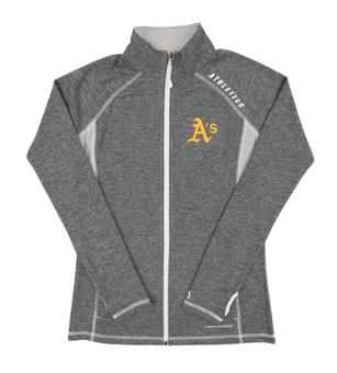 Oakland Athletics Majestic Gray Dream Of Victory Performance Full Zip Fleece (Womens Medium)