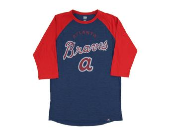 Atlanta Braves Majestic Navy Don't Judge 3/4 Sleeve Dual Blend Tee Shirt (Adult Large)