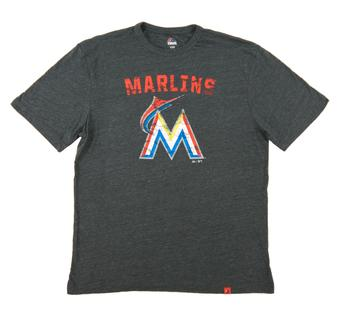 Miami Marlins Majestic Heather Gray Hours and Hours Dual Blend Tee Shirt (Adult Small)