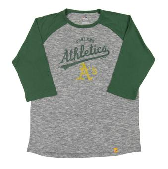 Oakland Athletics Majestic Gray Fast Win Raglan 3/4 Sleeve Tee Shirt (Adult X-Large)