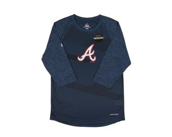 Atlanta Braves Majestic Season Dedication Navy Performance LS Tee Shirt (Adult X-Large)