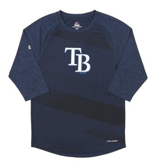 Tampa Bay Rays Majestic Season Dedication Navy Performance LS Tee Shirt (Adult Large)