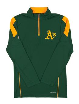 Oakland Athletics Majestic Green Status Inquiry Performance 1/4 Zip Long Sleeve (Adult Small)