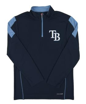 Tampa Bay Rays Majestic Navy Status Inquiry Performance 1/4 Zip Long Sleeve (Adult Small)