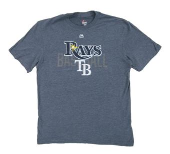 Tampa Bay Rays Majestic Heather Navy All In The Game Tee Shirt (Adult XX-Large)